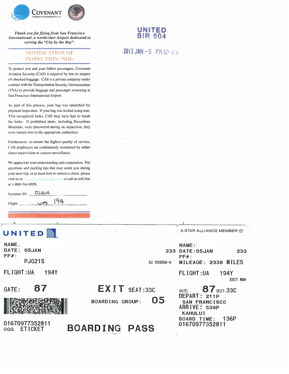 The Infamous TSA Inspection Slip