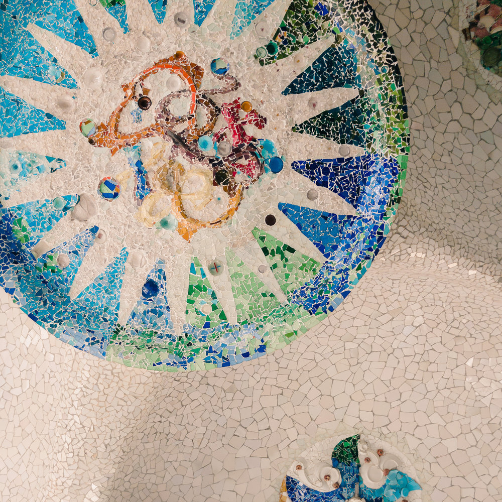Part of the ceiling mosaic in Park Güell's market area.