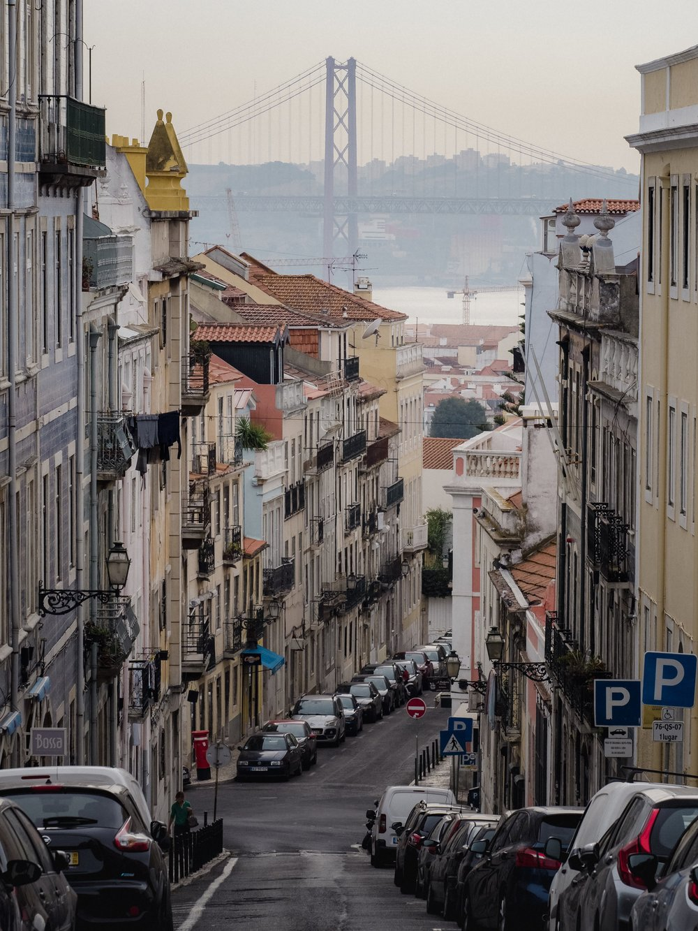 Seen in the distance here, the Ponte 25 de Abril, connects Lisbon to Almada.