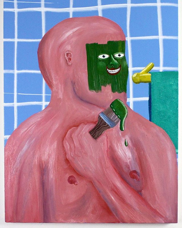 "Join us tomorrow night at 1112 East 17th Ave, Denver from 7-11pm for the opening reception of ""Fun Isn't Fun Anymore"" the first solo exhibition of works by Patrick Wilkins. . . ""Wilkins  raw, cartoony collage paintings echo the satirical grotesquerie of a James Ensor or George Grosz, though in completely 21st-century terms."" . . Image: ""Good Boy Tries Painting"" 26"" x 48"" Oil + Enamel on Canvas 2017 by @patrickmartinwilkins"