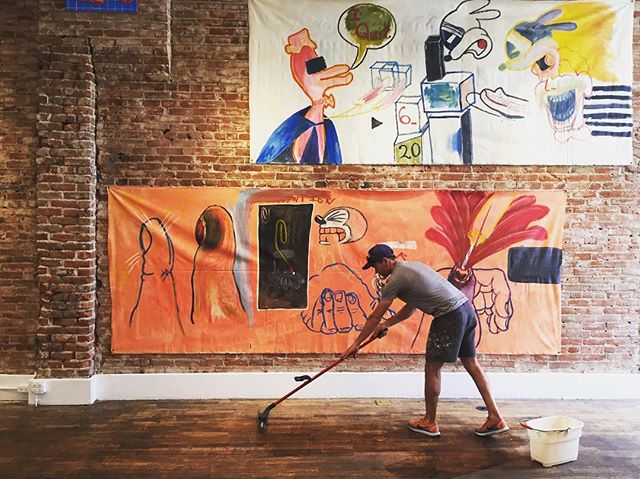 "Real gallerists clean their own damn floors. LEON is open Wed-Friday 10-6pm and Sat-Sun 12-6 for your viewing pleasure. Cleanest floors in Denver, guaranteed. Stop by to see @patrickmartinwilkins exhibition ""Fun Isn't Fun Anymore"" at 1112 East 17th Ave, Denver, Colorado"