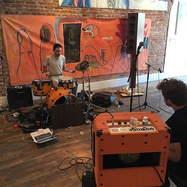 Orange is the color of the day! Heading into the 10th hour of Muscle Brain's marathon music performance. So far 9 hours of continuous music filling the gallery space. Stop by for a listen and a frosty beer until 10pm. @jordanknecht @jamesdavidfitzpatrick @patrickmartinwilkins #musclebrain  #marathonmusic #performanceart #denverart #denverartists #denvermusician