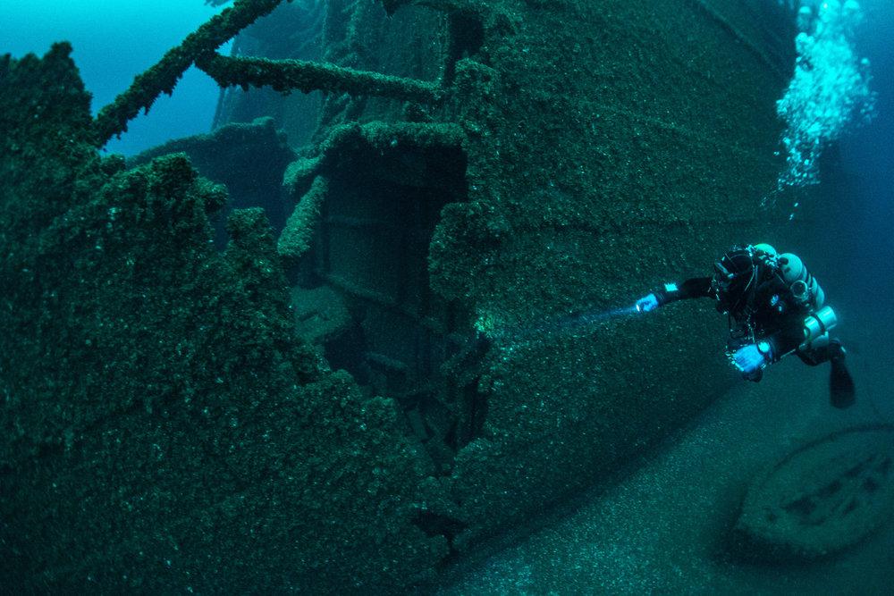 Ormidale's bow cut this gash into the Viator, sending it to the bottom. Photo by Jitka Hanakova www.shipwreckexplorers.com