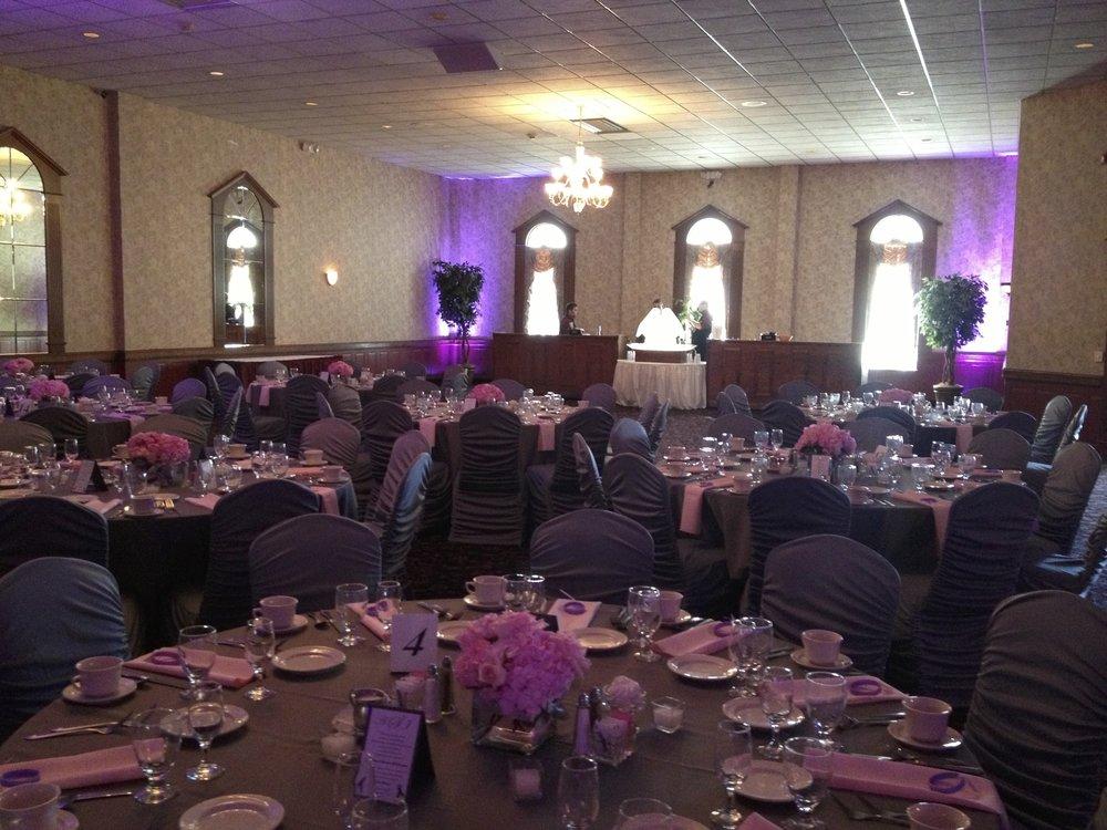 Purple Uplighting at Our Wedding Venue