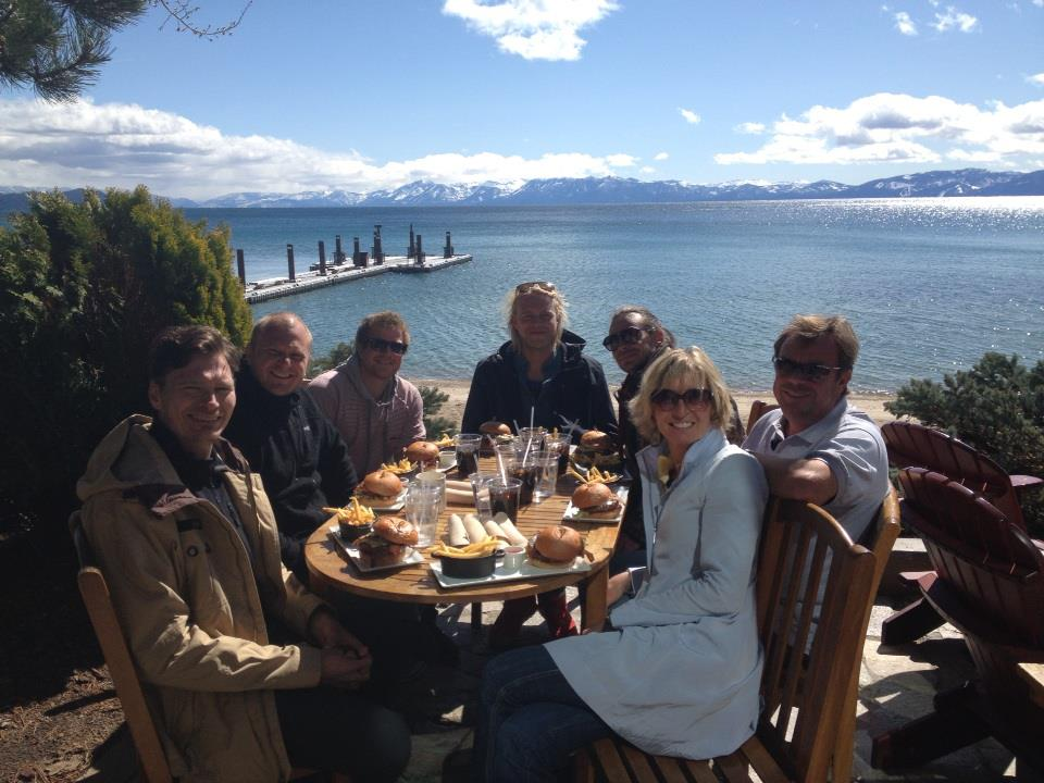Felix, crew and us having lunch at Lake Tahoe
