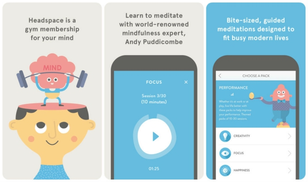 Screenshots from the Headspace app