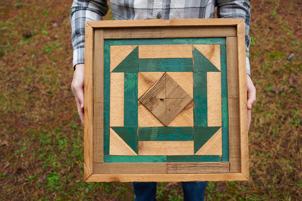 the one for Jonah's mom with wood from the porch of her childhood home (the pieces with the green paint).