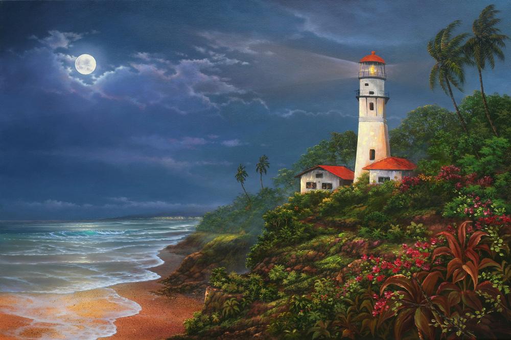 """Diamond Head Light House"" 24x36"