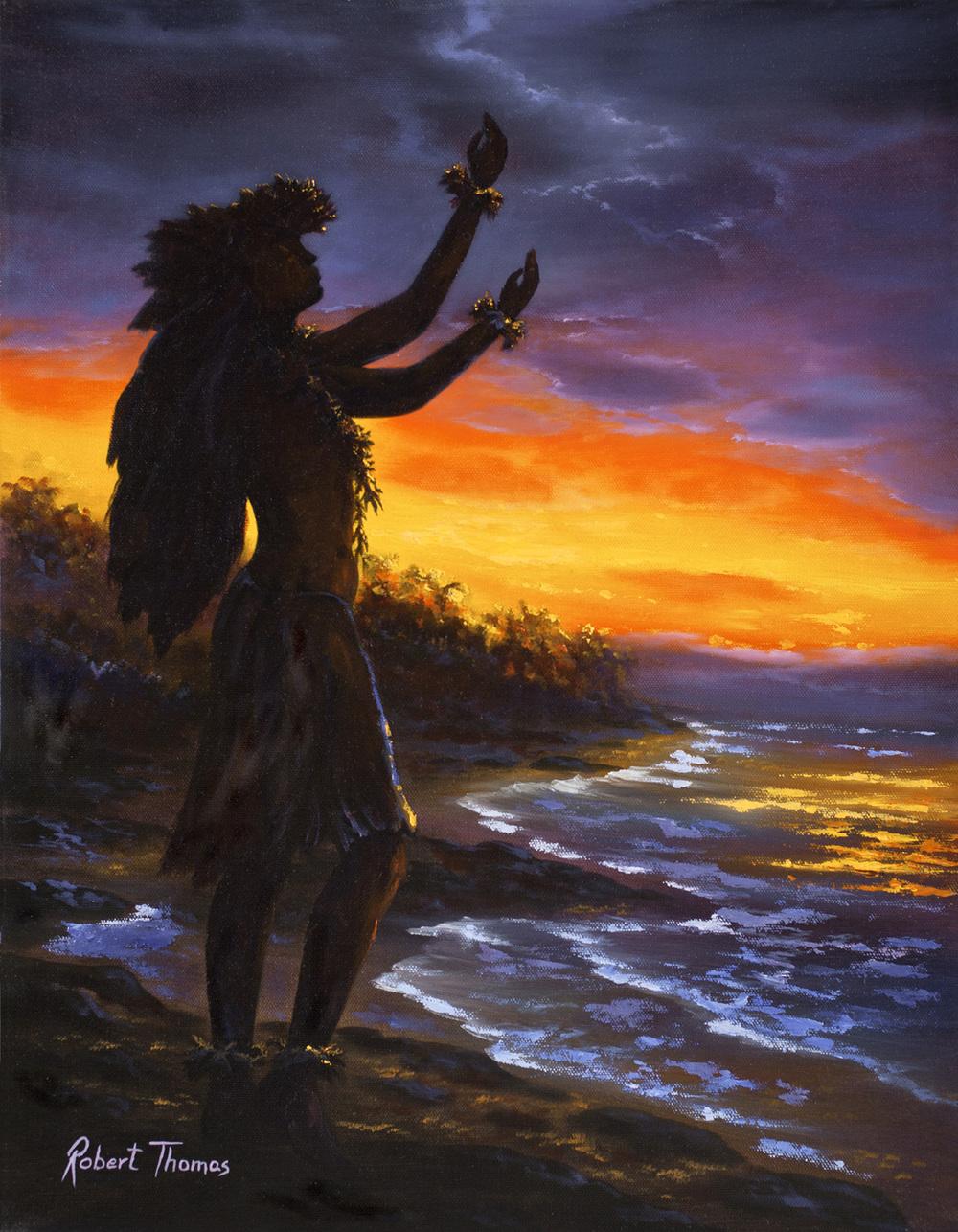 """""""Hula At Sunset"""" 16x20"""