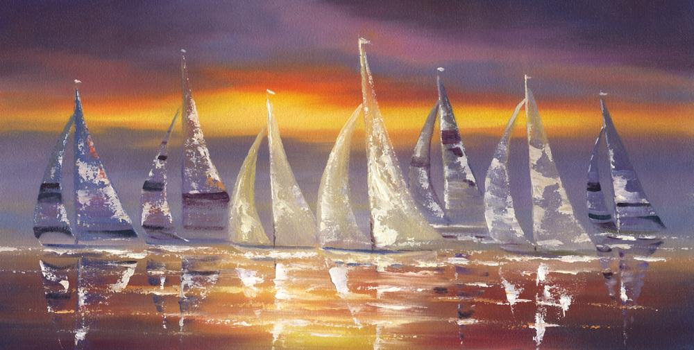 """Sail Boats"" 10x20"