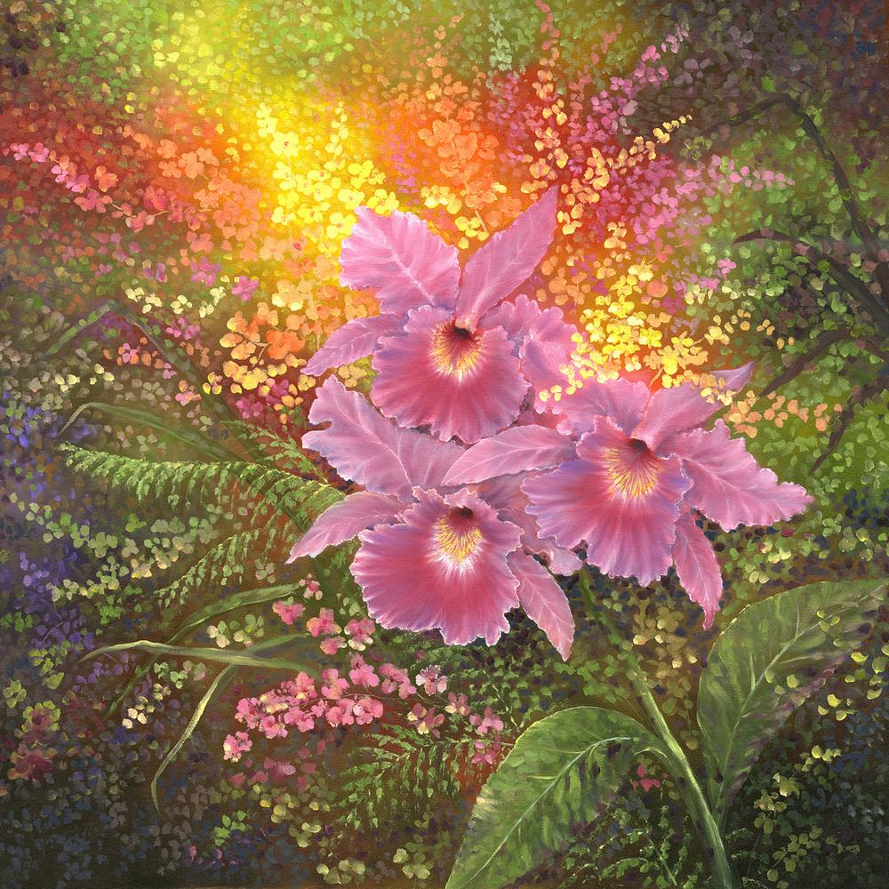 """Orchid Trio"" 32x32"