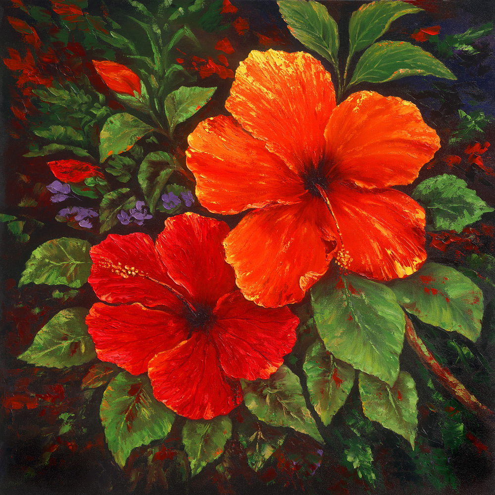"""Red Hibiscus"" 32x32"
