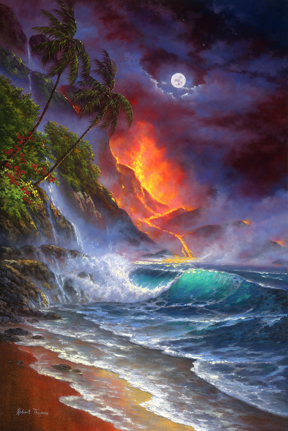 """Moon Over Kilauea"" 24x36"