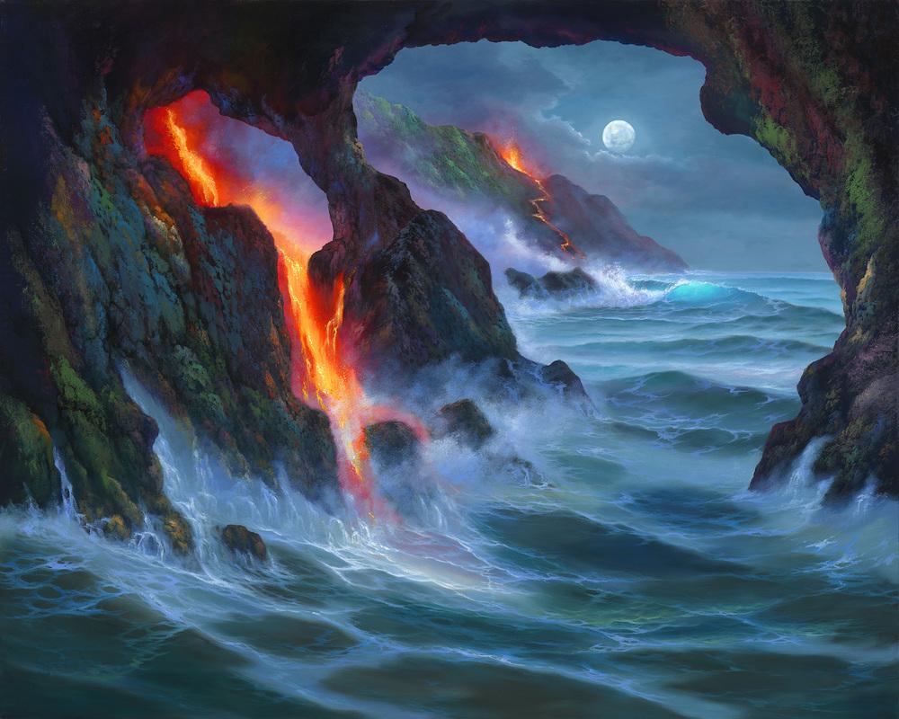 """Volcano Sea Cave"" 24x30"