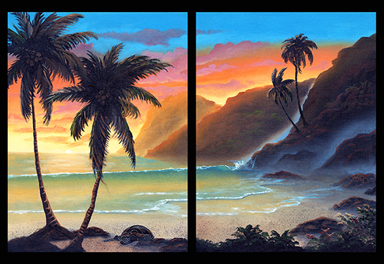 """Honu Sunset Palm"" 16x24"