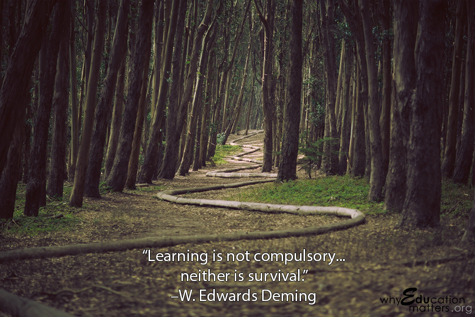 """Learning is not compulsory...  neither is survival.""  –W. Edwards Deming"