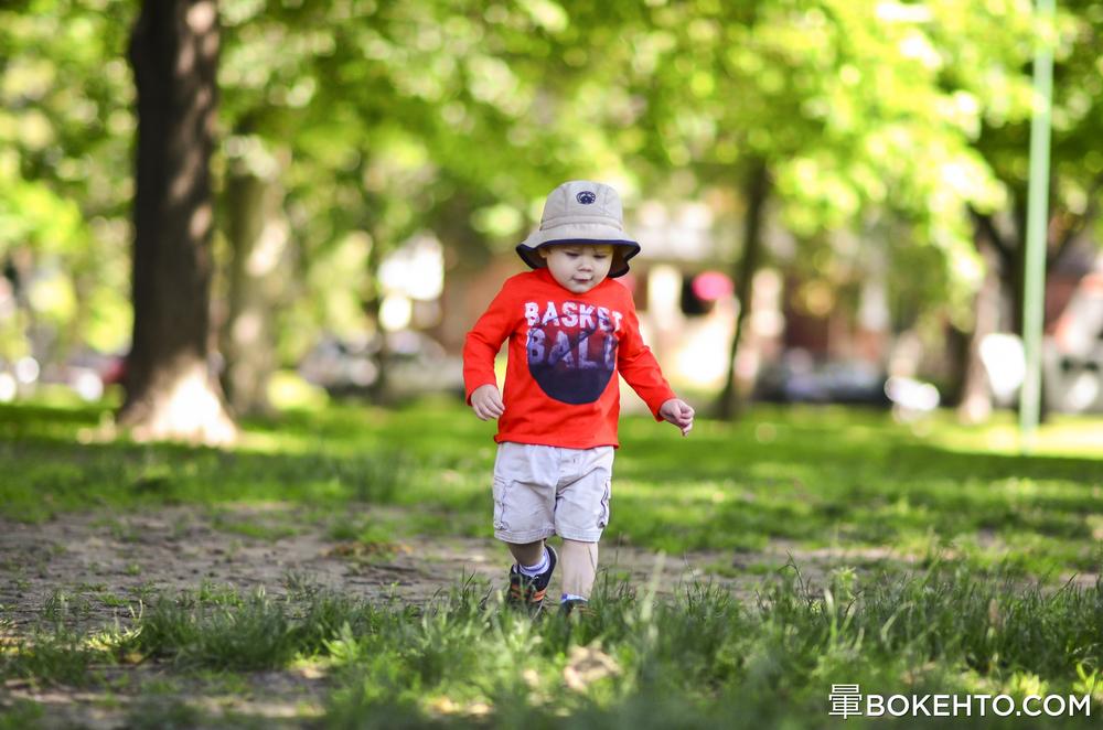 Little man lost in bokeh