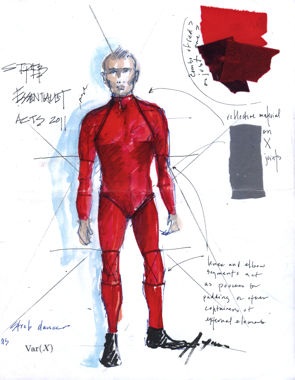 Action Hero design sketch with exploration of what smart fabrics go where on the body, each with a different function.