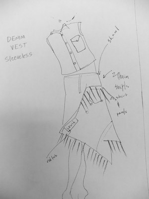 Napkin sketch of how to repurpose ready made Levi's garments into new shapes.