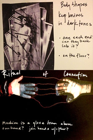 Mood board for QOTN proposing interactive gloves that connect performer and guest by reading their own heartbeats