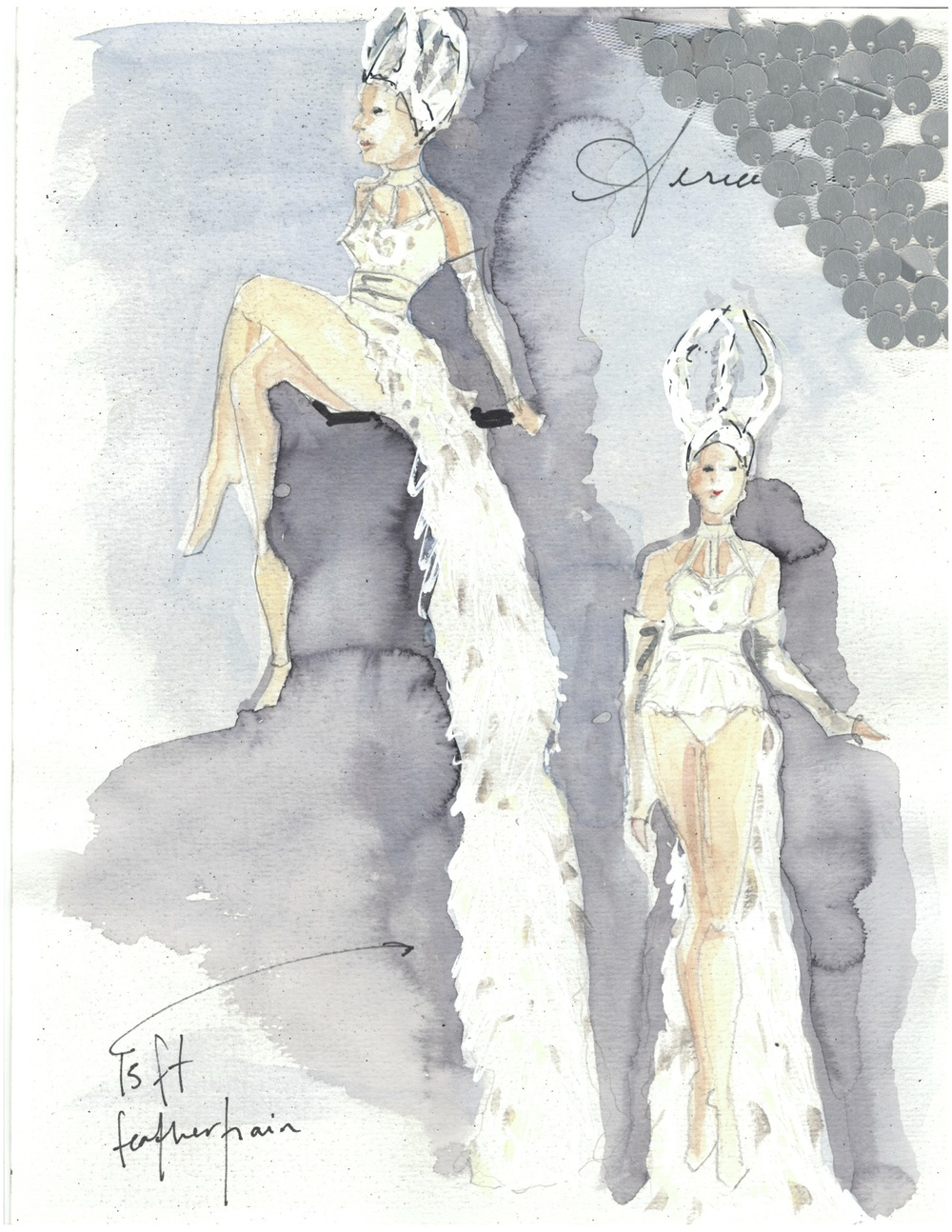 Watercolor sketch for the Aerialists.