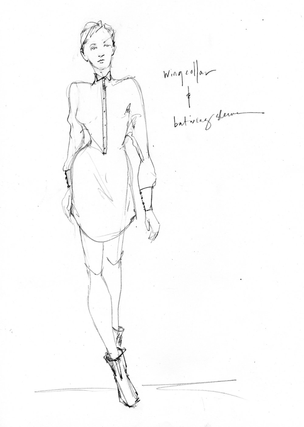 Rough sketch examining the use of a dolman sleeve and wing collar as a link from pattern making to story