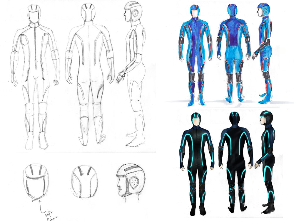 Initial concept sketches. The LEDs position accentuate the form of the human anatomy.
