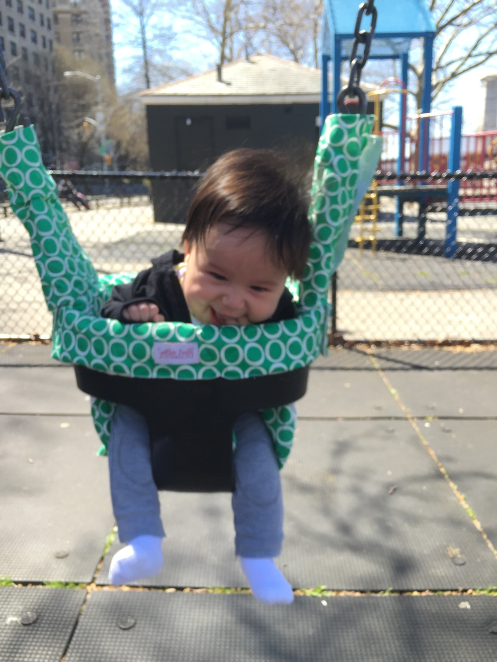 He loves the swings now!