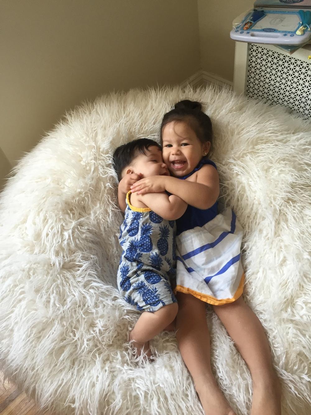 Sibling cuddles!