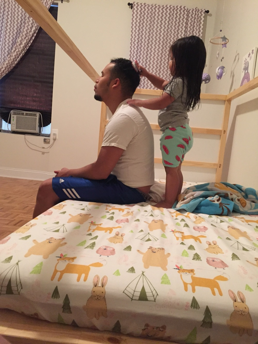 giving Papi an Elsa braid