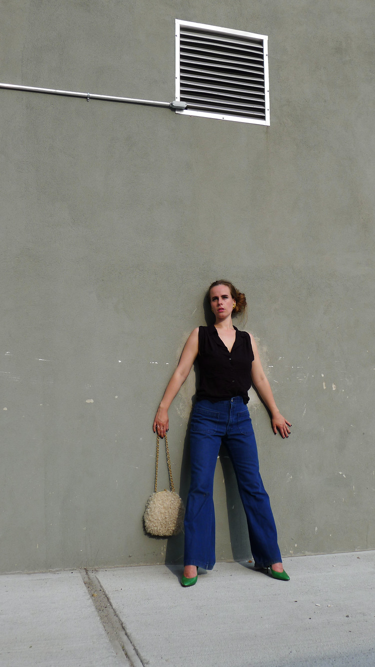 Shoes, Bag & Earrings - Vintage. Top - Kooples. Pants - Vintage.