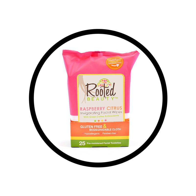 Rooted Beauty wipes: for peanut butter hands and last nights makeup.