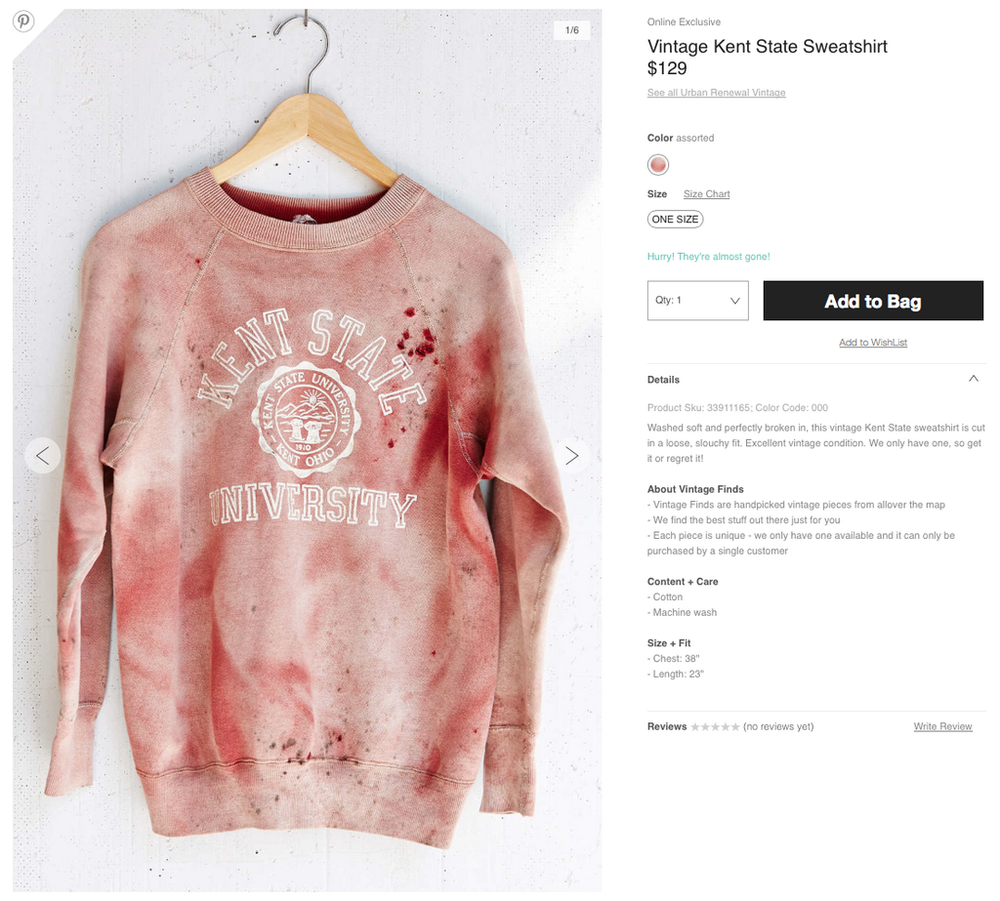 "Matt Chernesky     @ mattchernesky       Follow   I ask  # urbanoutfitters   to not sell this offensive shirt that mocks the tragic May 4th shootings at  # KentState  .           cory zanoni     @ cjzanoni       Follow   Urban Outfitters are selling a ""vintage"" Kent State jumper, blood splatters and all. Nothing says ""hip"" like murder."