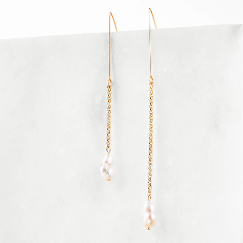 nora | asymmetrical pearl + 14K gold fill drops (more options)