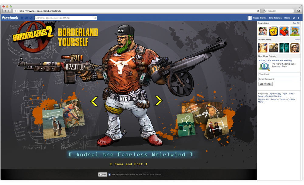 We brought the game's high degree of customization to this Facebook app, which generates a unique Borderlands character based on user information and photos.
