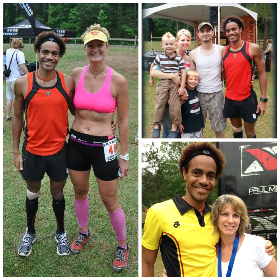 Post-race with friends/fam. Left: fellow 20K runner Kate Andreasen. Top Right: Holliman family. Bottom Right: Momma Hope!