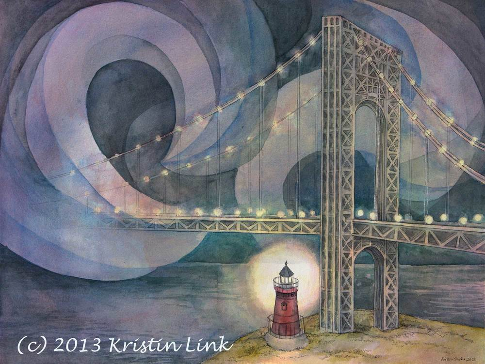 "Little Red Lighthouse Commission, 22 x 30"", watercolor and pen (Photo by Anders Link)"