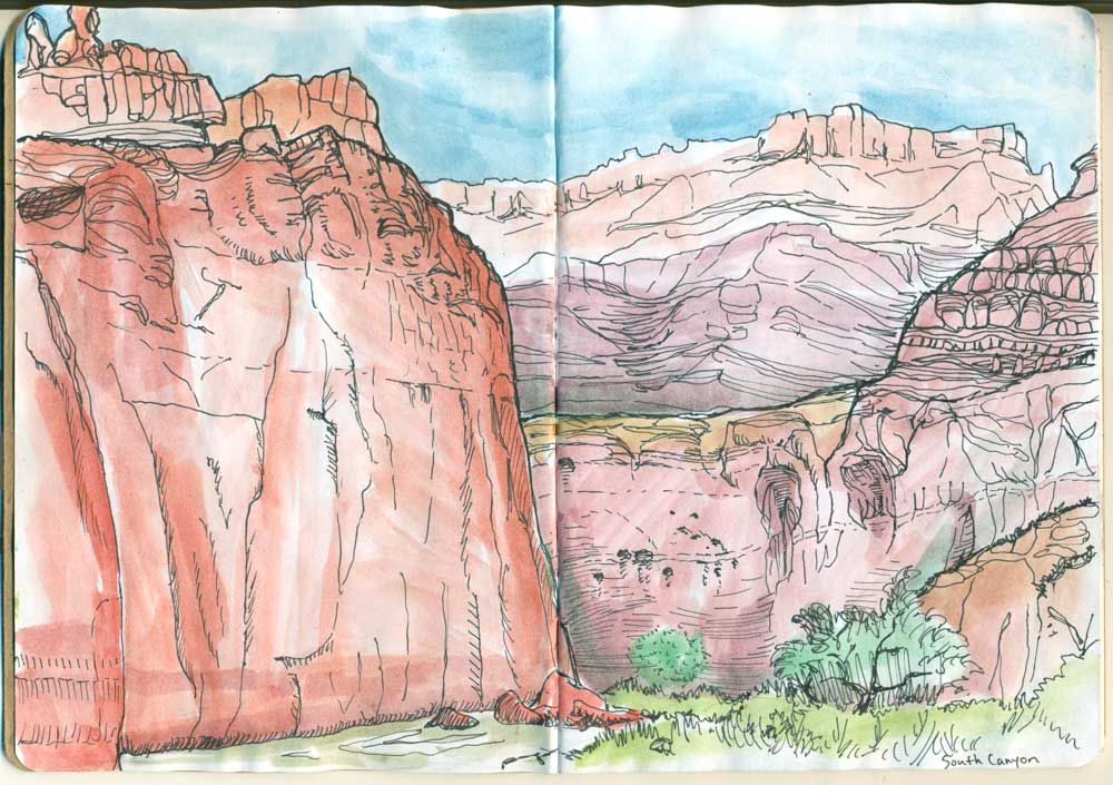 Above: A sketch of South Canyon camp. Watercolor and pen