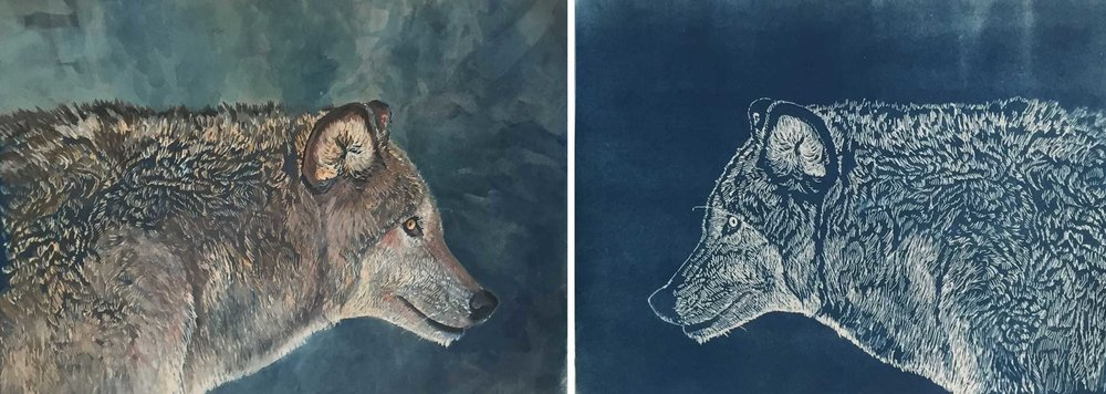 "Wolves. Both are 9 x 12"" The left image is a print with gouache and colored pencil. The right image is the plain print."