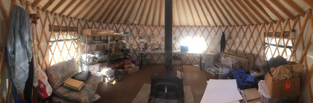A peek inside the yurt studio