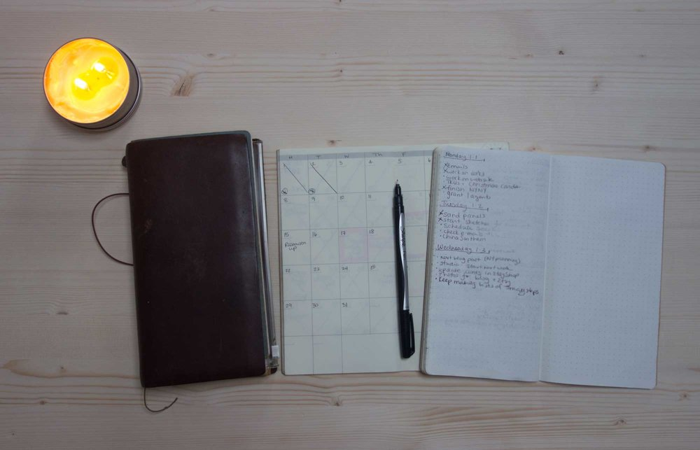 My Travelers Notebook with calendar and weekly/daily bullet journal. I use one other dot grid notebook as another bullet journal for big projects.