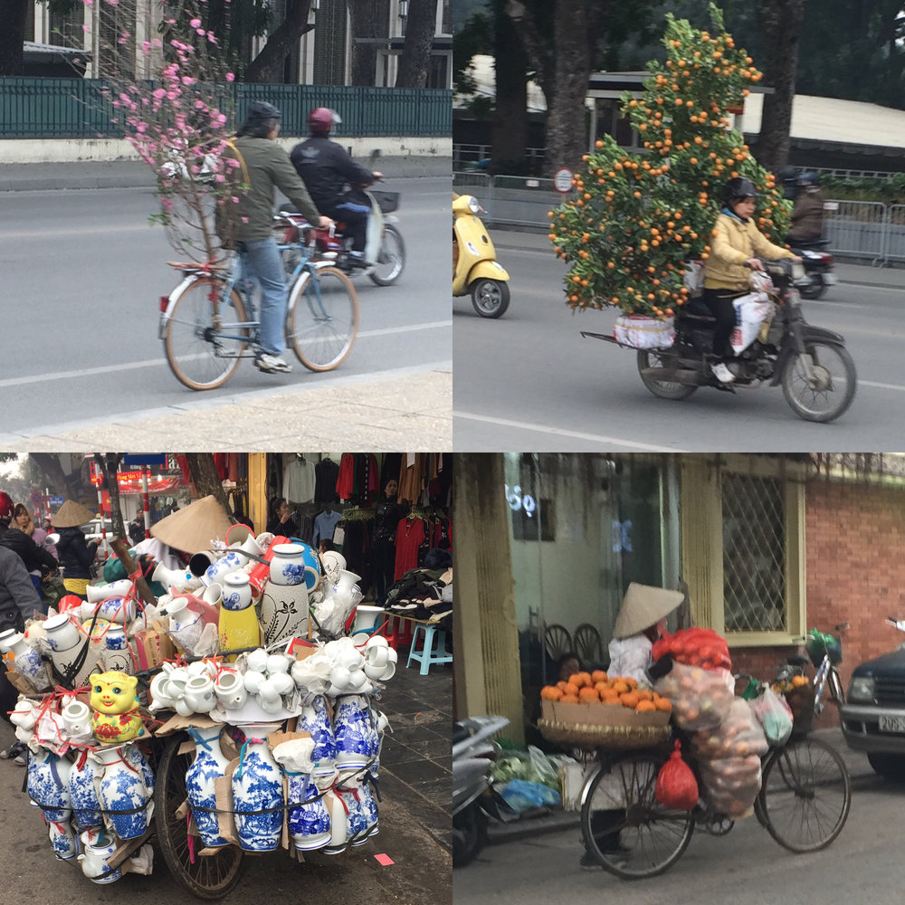 "Not illustrated, but a photo ""field guide"" of ways to carry things on bikes in Hanoi, Vietnam"