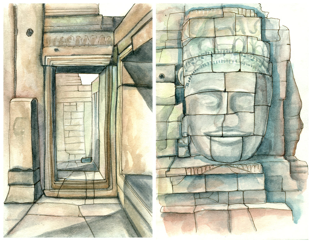 Sketchbook spread from Bayon Temple, not really a museum per se, but lots of sculptures and cool architecture to draw.