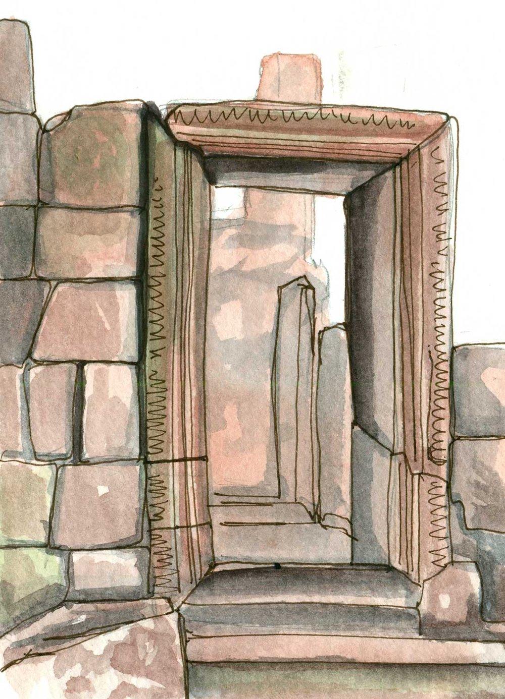 Sketch of a doorway using one panel in the accordion sketchbook