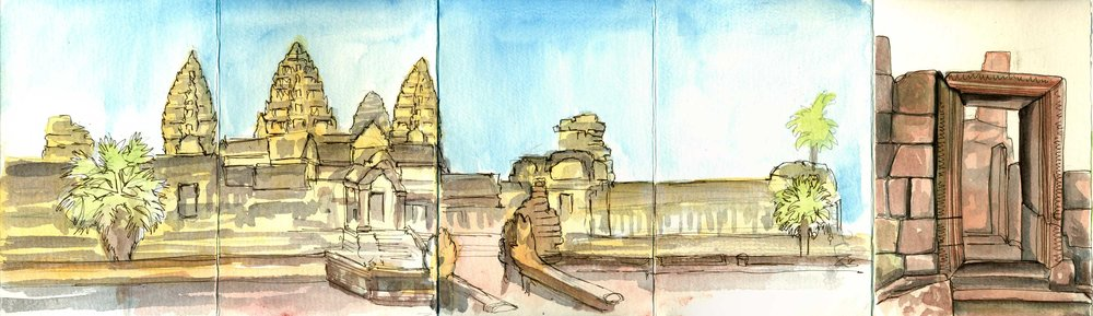 Angkor Wat and an up-close sketch from Baphoun in the accordion sketchbook