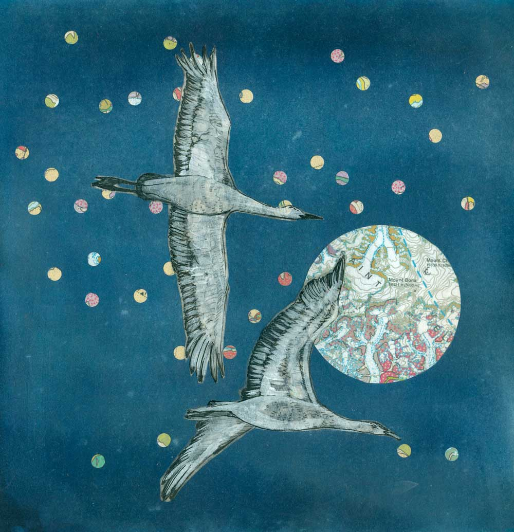 Crane Migration - Mixed media collage