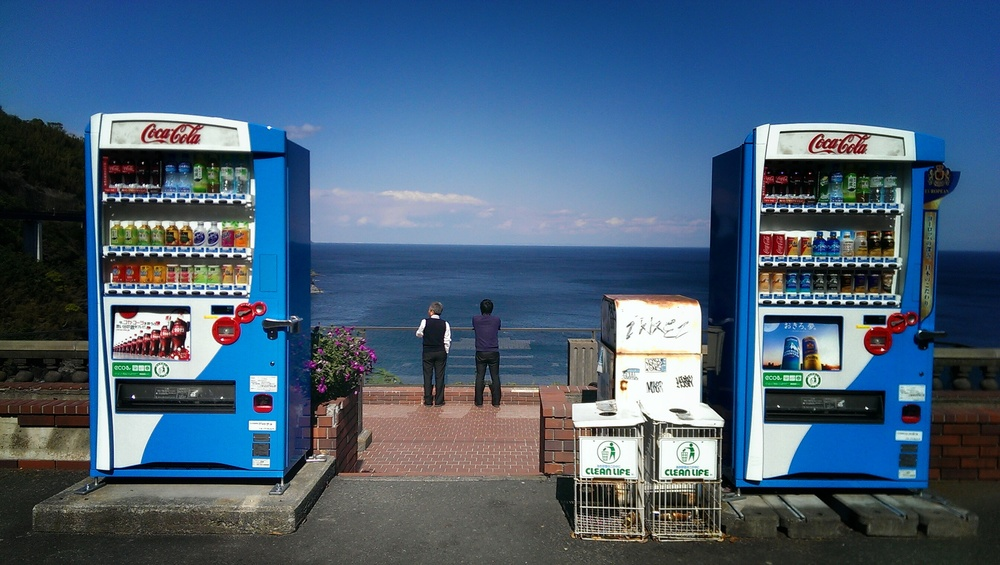 Enjoying the sea view on the way to Shimoda.