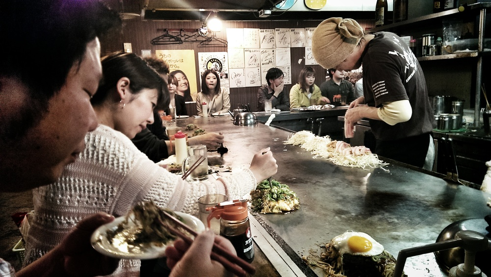 Okonomiyaki in Hiroshima.