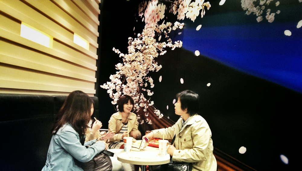 Dining under McDonald's Sakura.