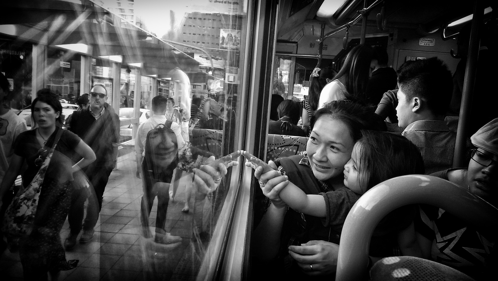 On the tram into the CBD.